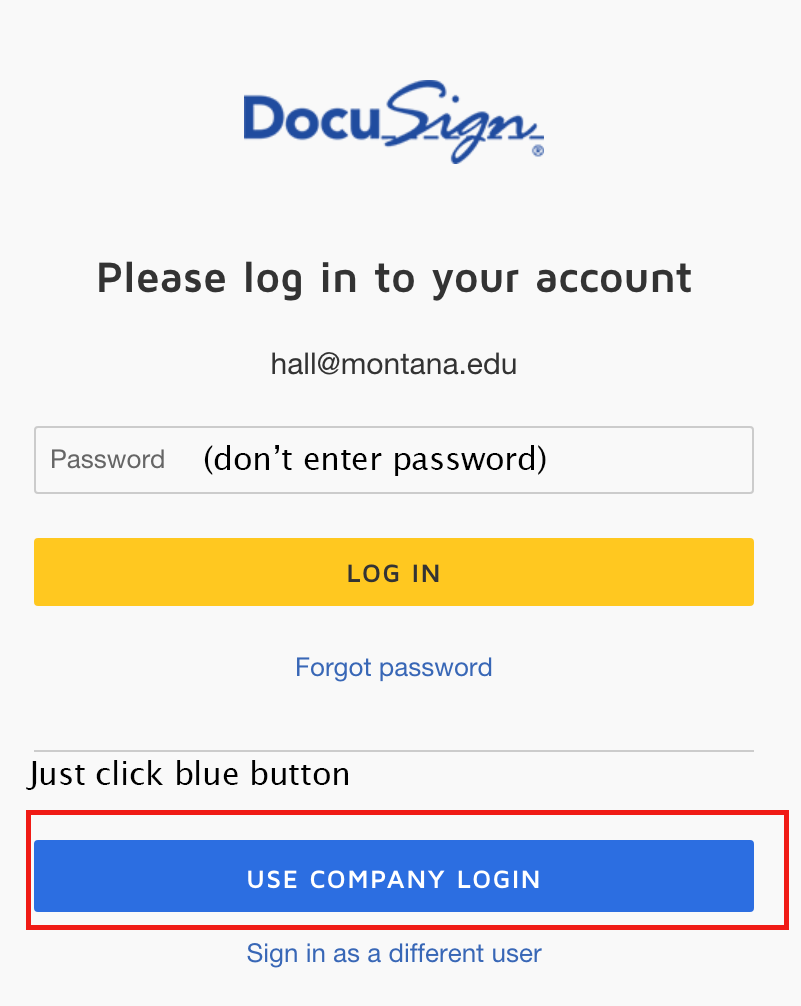 Screenshot of field where MSU NetID is entered and the Blue Use Company Login button