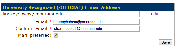 Image of preferred email address form in MyInfo with check box