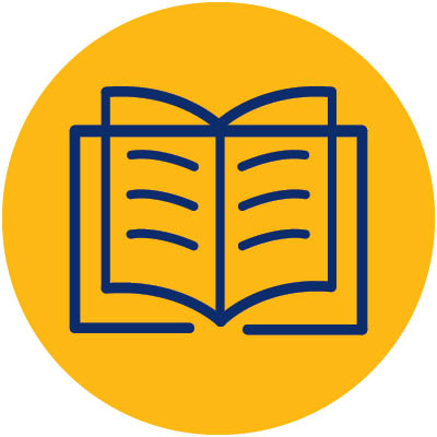 gold circle with blue book indicating activity is reading