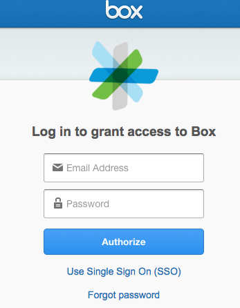 Screenshot showing Box login with Single Sign On Link