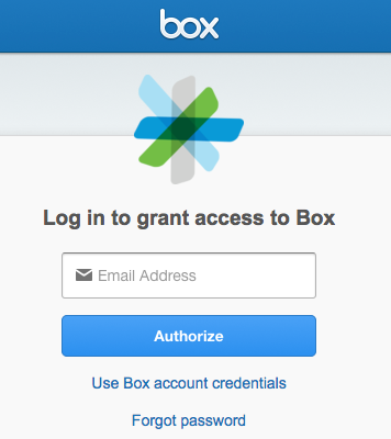 Screenshot of email field and Authorize button.