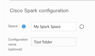 Screenshot showing the field and dropdown arrow where you select your Spark space.