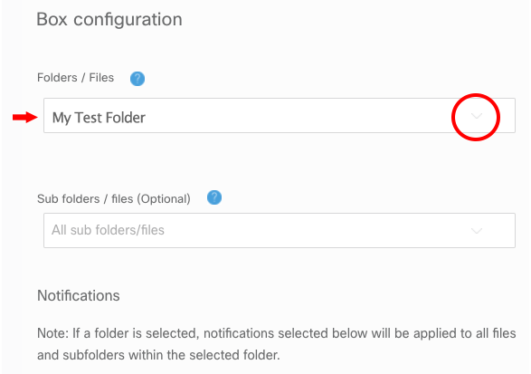 Screenshot of how to select the Box folder or file you'd like to connect with on Spark.