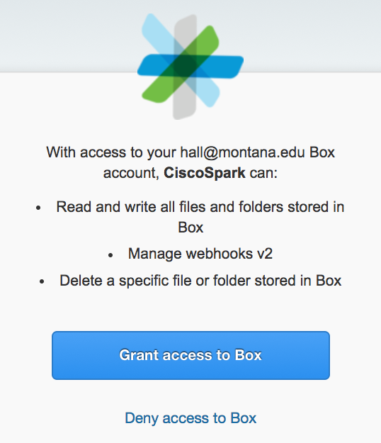 Screenshot of the Grant access to Box window.