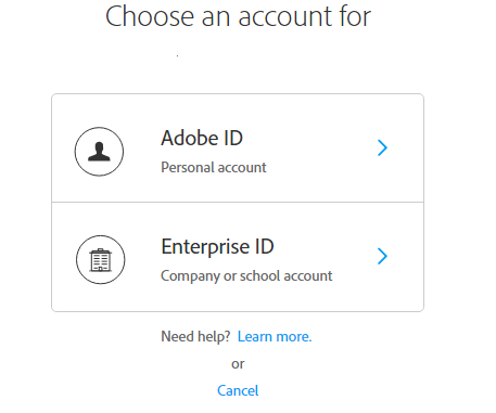 Screenshot of Choose an account for Adobe ID or Enterprise ID