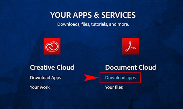 screenshot showing the link to click located on the Adobe page under Document Cloud.