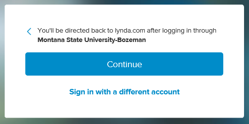Screenshot of the Lynda login Continue button which directs you to MSU's login page then redirects you back to Lynda.