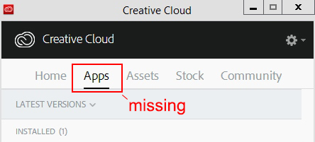 Screenshot of Creative Cloud app panel and missing apps tab.