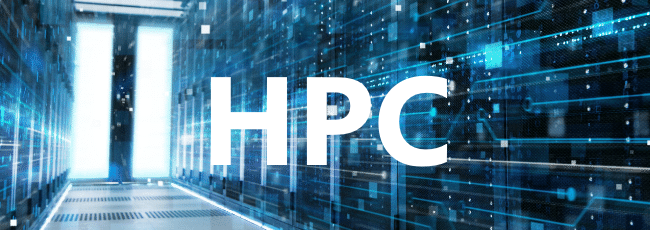 HPC logo with datacenter background