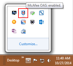 Status bar with McAfee Icon located at the top of computer screen in upper right