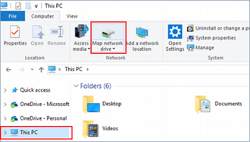 screenshot of Map network drive button in the ribbon under Computer tab when clicking This PC.