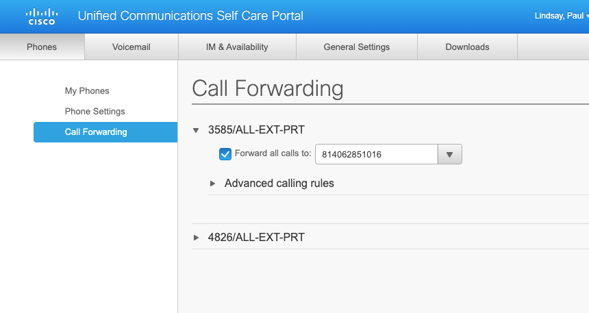call forward screen image