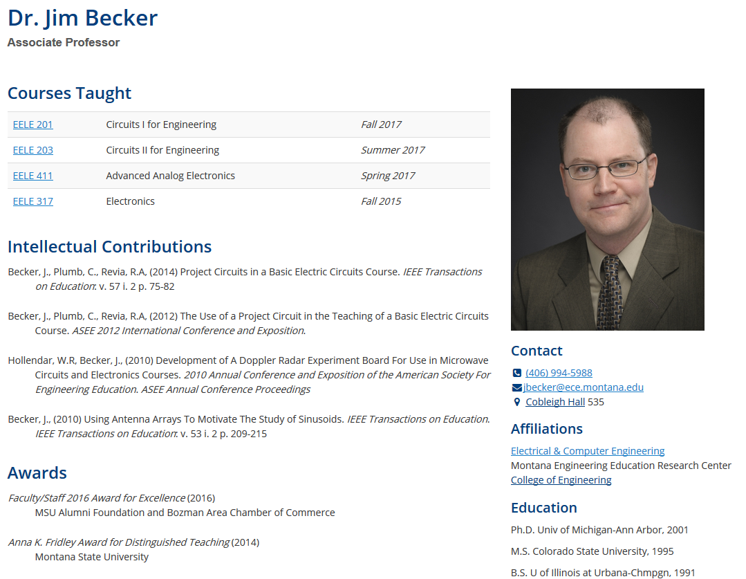 Dr Jim Becker's profile page