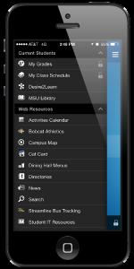 MSU app - menu