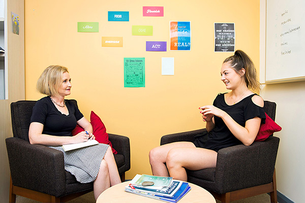 Counselor and patient in a counseling session