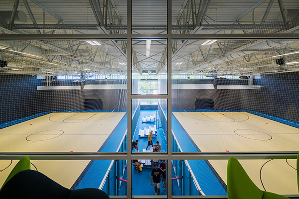Two indoor courts demarked for basketball