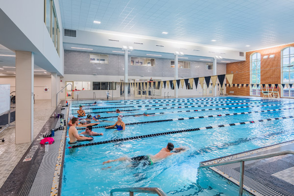 Swimming pool with designated lanes for lap swims