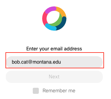 Screenshot of the Webex Signin window showing field for email address.