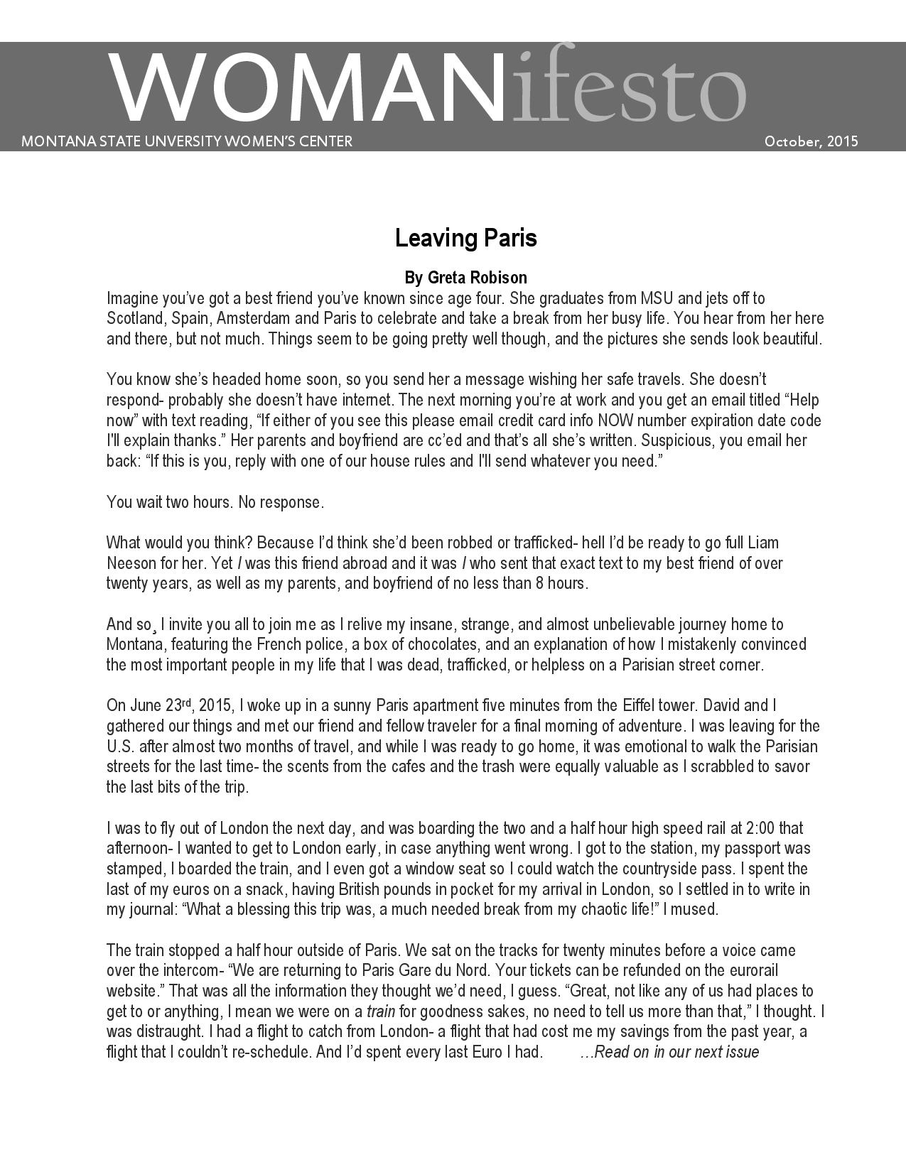 page 4 of newsletter. Contact women's center for word document copy.