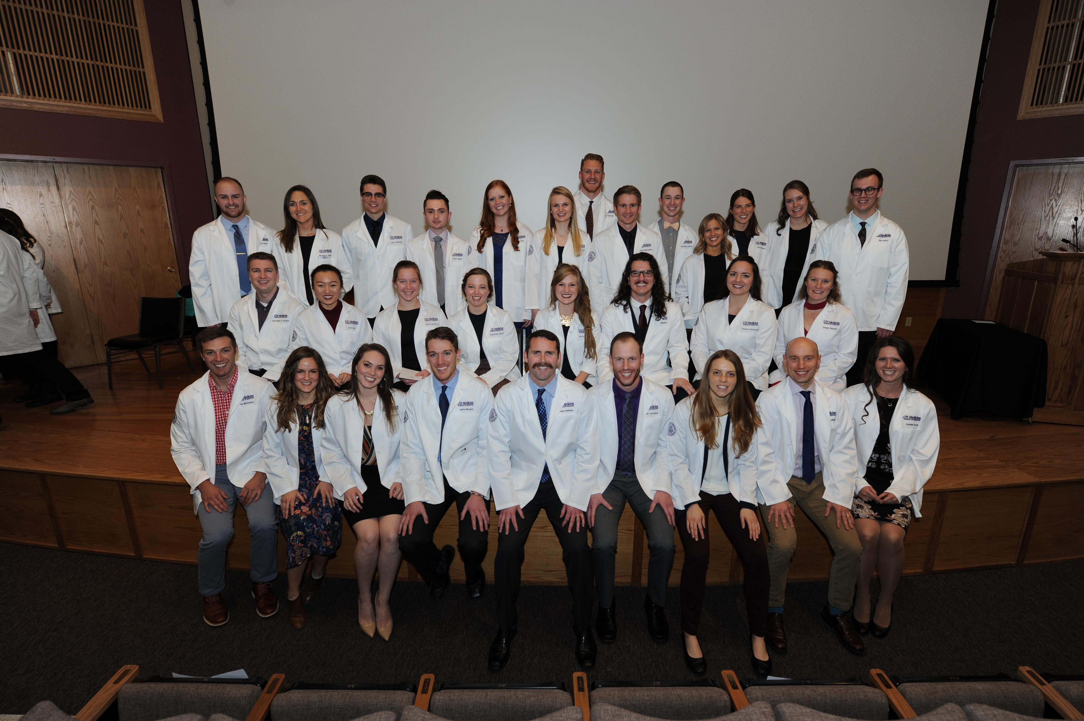 The E17 students received their second white coat to mark transition from the Foundations Phase to the Clinical Phase in December 2018